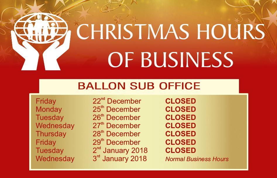 Carlow CU Ballon Office Christmas Hours 2017
